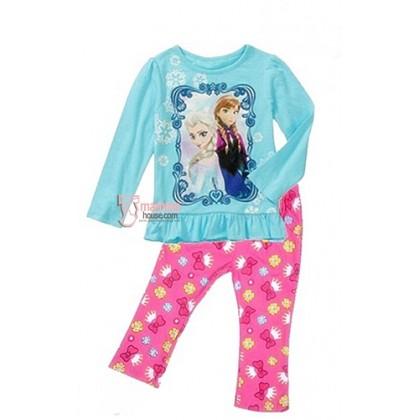 Baby Pajamas - 2 pcs Long Anna Elsa Ribbon Pink Pants