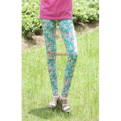 Maternity Pants - Long Green Flora